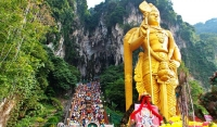 Lord Murugan in front of Batu Caves